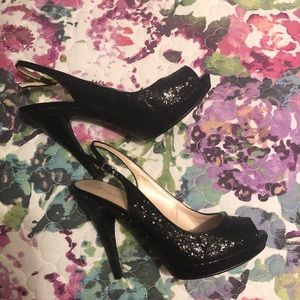 Like new Glameron Nine West black sequin heels